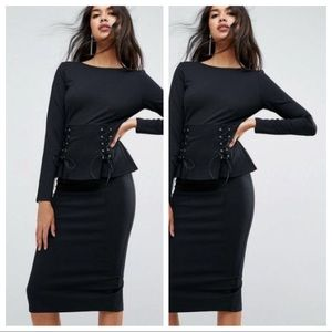 NWT ASOS Black Peplum Dress With Lace Up Detail